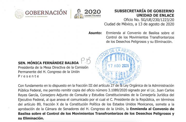 Comunicado de la Presidencia de la República al Senado para la Aprobación de la Enmienda de Prohibición del Convenio de Basilea. 12 de agosto 2020.